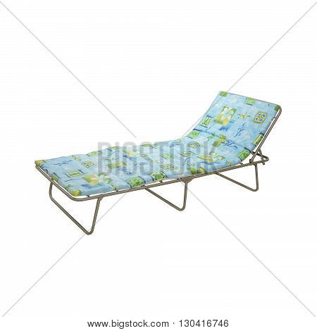 camp cot with matress isolated on white