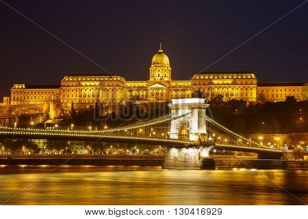 Cain Bridge illuminated at night, Budapest Hungary.