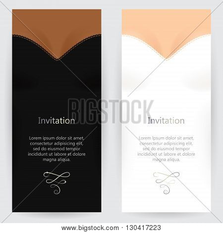 Set of backgrounds for invitations with light-skinned female bust and white dress and dark-skinned female bust and black dress