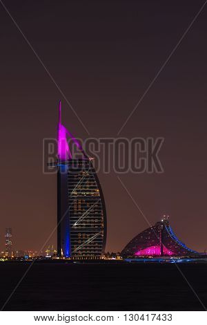 Burj Al Arab Jumeirah In Dubai City At Night
