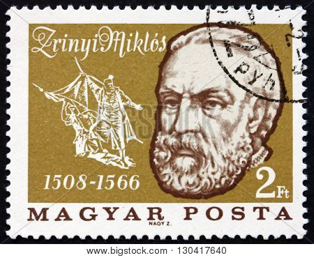 HUNGARY - CIRCA 1966: a stamp printed in Hungary shows Miklos Zrinyi or Nikola Zrinski was a Croatian and Hungarian Military Leader Statesman and Poet Hero of Turkish Wars circa 1966