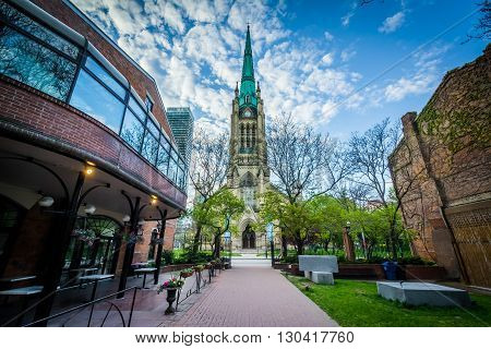 Market Lane Park And The Cathedral Church Of St. James, In Toronto, Ontario.