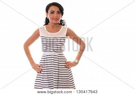 woman in a white striped dress standing on white background