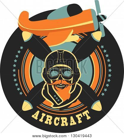 Vector emblem in retro style on a background of a dead pilot propeller aircraft a skull wearing a helmet