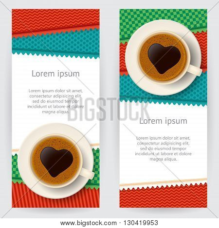 Set of decorative backgrounds with coffee cups and colorful patterned patches