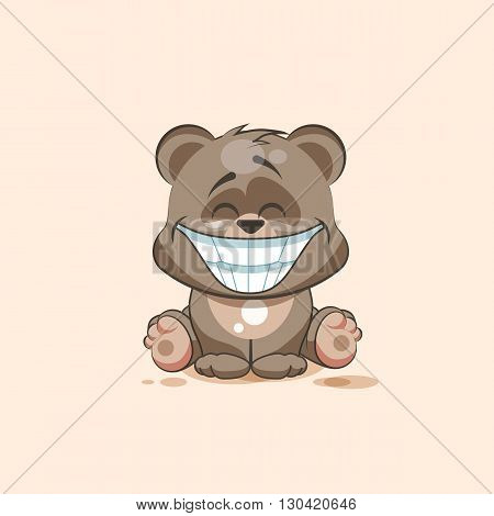 Vector Stock Illustration isolated Emoji character cartoon Bear with a huge smile from ear to ear sticker emoticon for site, info graphic, video, animation, website, e-mail, newsletter, reports, comics