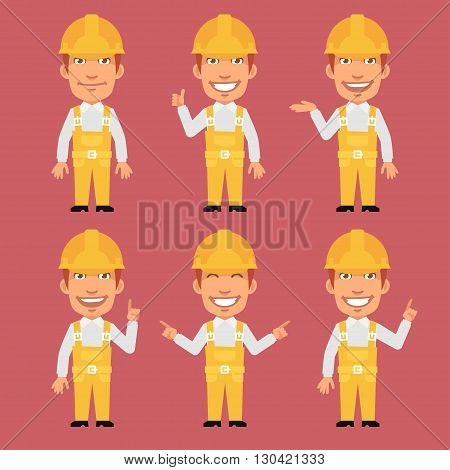 Vector Illustration, Builder Shows and Indicates, format EPS 8