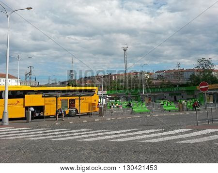 PRAGUE CZECH REPUBLIC - CIRCA JUNE 2015: coach of the Student Agency company ready for boarding at Florenc bus station in Prague Zizkov