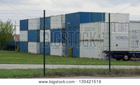 VIENNA AUSTRIA - CIRCA APRIL 2016: industrial containers for transport