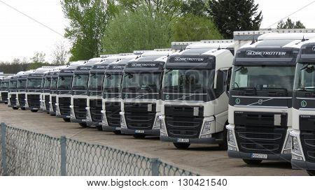 VIENNA AUSTRIA - CIRCA APRIL 2016: persperctive of trucks for industrial transport