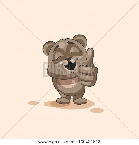 Vector Stock Illustration isolated Emoji character cartoon Bear approves with thumb up sticker emoticon for site, info graphic, video, animation, websites, e-mails, newsletters, reports, comics