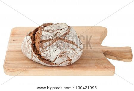 Homemade bread on cutting board of ash wood isolated on white background