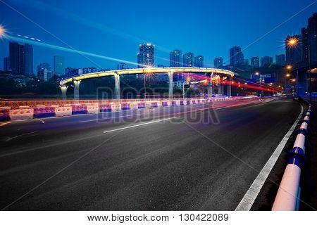 traffic trails on bridge,chongqing china.