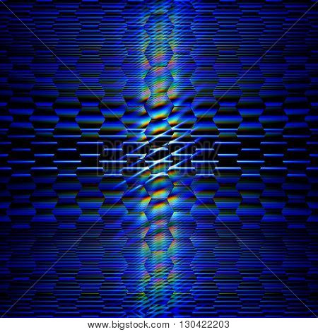 abstract shining hexagons over dark blue background with lines and rainbow lights