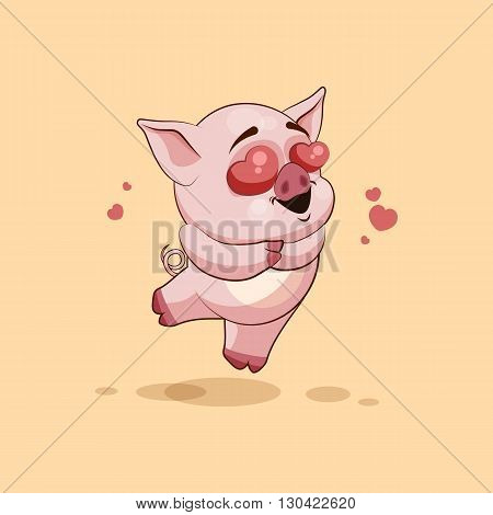 Vector Stock Illustration isolated Emoji character cartoon Pig in love flying with hearts sticker emoticon for site, infographics, video, animation, websites, e-mails, newsletters, reports, comics
