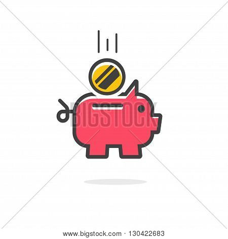 Piggy bank coin vector icon, red piggybank symbol with abstract falling flying coin, thin line outline style modern emblem design, piggy bank flat icon illustration isolated on white background