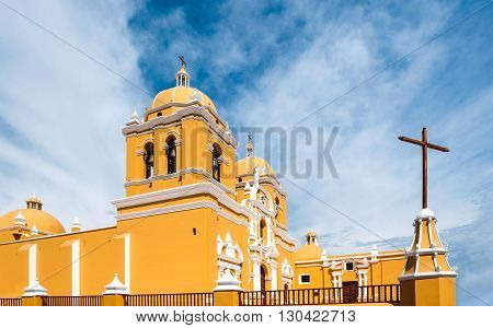 Colonial church in Trujillo a wonderful city with colorful colonial buildings in Northern Peru