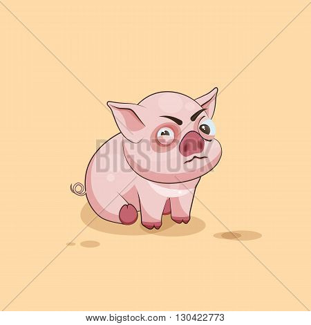 Vector Stock Illustration isolated Emoji character cartoon Pig squints and looks suspiciously sticker emoticon for site, infographics, video, animation, websites, e-mails, newsletters, reports, comics