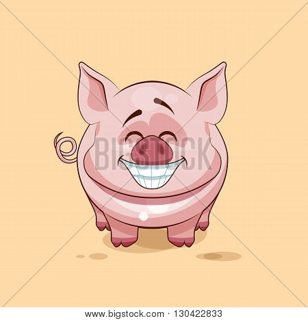 Vector Stock Illustration isolated Emoji character cartoon Pig with a huge smile from ear to ear sticker emoticon for site, infographics, video, animation, website, e-mail, newsletter, reports, comics