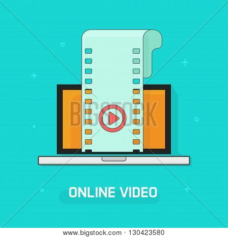 Laptop with video film strip, play button vector illustration, concept of online video content, video streaming service, computer smart tech, video player modern linear outline design isolated on blue