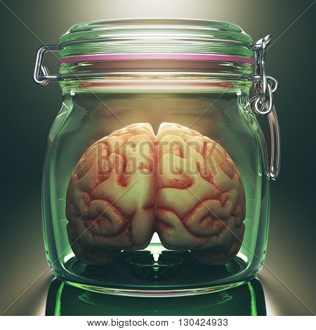 3D Concept image of a brain inside an hermetic glass storage. Clipping path included.