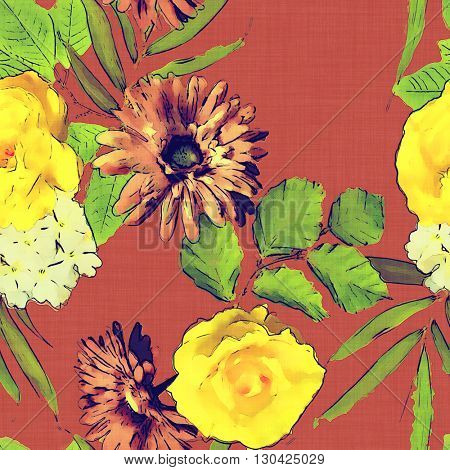 art vintage colored watercolor floral seamless pattern with white, gold and orange red roses, peonies, gerbera and asters on brown background