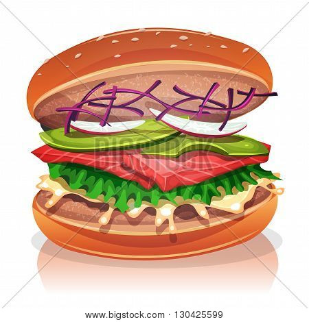Illustration of a big appetizing vegetarian burger with salmon fish fillet salad red beet avocado radish slices and white sauce for veggie fast food snack and takeaway menu