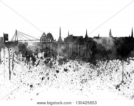 Riga Skyline In Watercolor On White Background