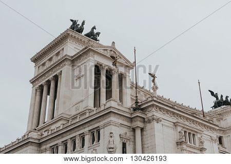 Il Vittoriano of Rome, Italy. Side view.