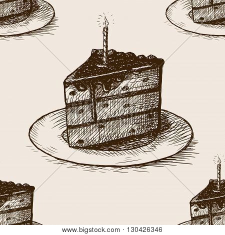 Piece of cake with a candle sketch style seamless pattern vector illustration. Old engraving imitation.