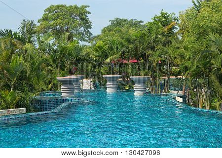 Swimming pool with palm trees. Thailand. clothing