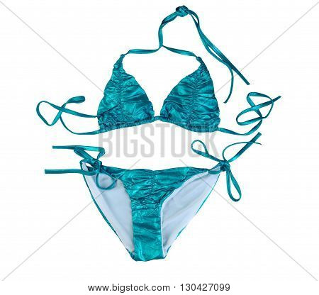 Blue stylish swimsuit. Isolate on white. clothing