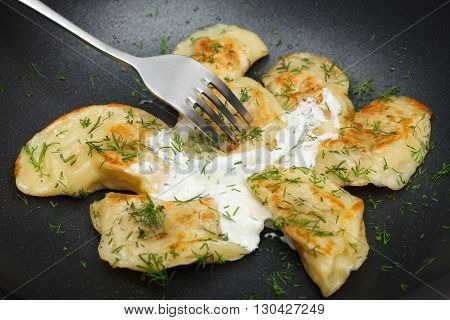 Fried dumplings with fresh dill and sour cream. Cooked dish taste concept