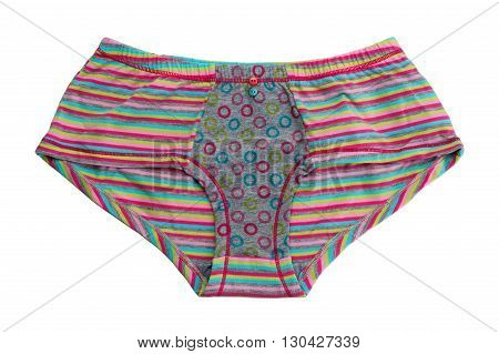 Striped colored cotton panties. Isolate on white.