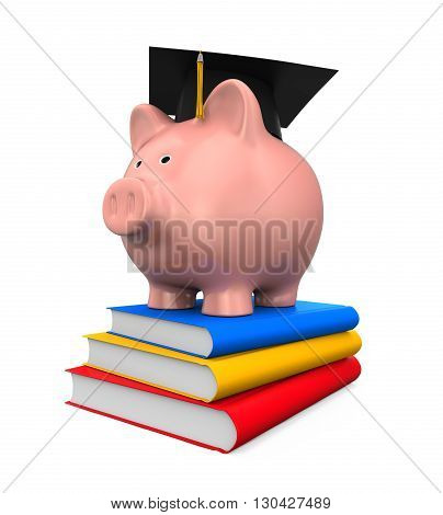 Piggy Bank with Graduation Cap and Books isolated on white background. 3D render