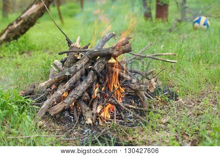 Bonfire in the forest. Bonfire lit at A picnic in a forest. Green grass trees and a soccer ball in the background