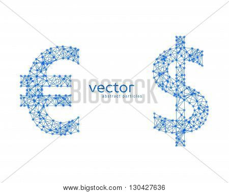 Abstract vector illustration of euro and dollar sign on white background
