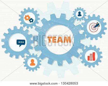 team and symbols and person signs in grunge flat design gear wheels infographic, business team building concept, vector