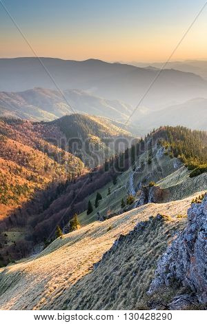 Sunny Evening Over Mountains Valley