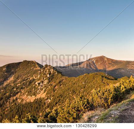 Amazing Sunny Evening On Ridge Of Little Fatra Hills