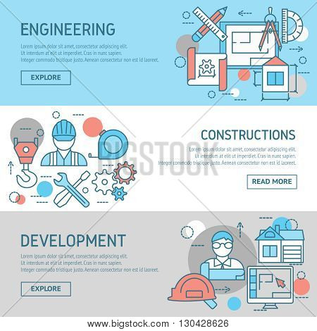 Engineering and constructions horizontal banners set with worker developer drafts professional instruments computers buildings isolated vector illustration