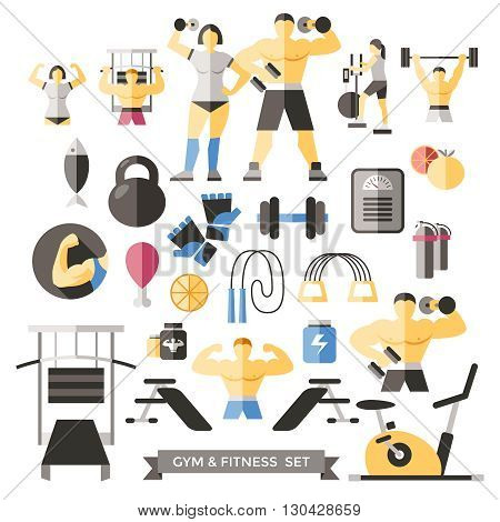 Bodybuilding Knolling Icon Set male and female athletes in training and sports equipment vector illustration