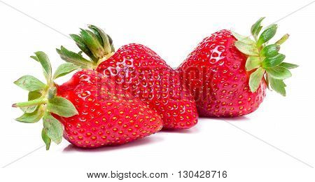 three strawberries isolated on white background close-up macro.