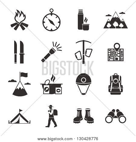 Mountain climbing black white icons set with footwear binoculars flashlight map compass tent campfire isolated vector illustration
