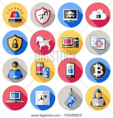 Internet security flat icons set with computer banking card safe smartphone hacker virus encryption isolated vector illustration