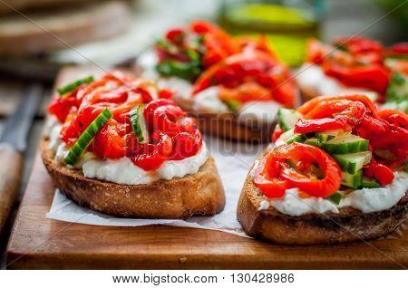Rasted Pepper, Cucumber And Feta Bruschetta