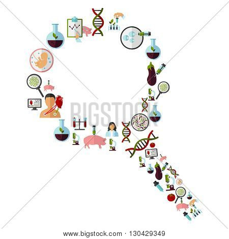 Biotechnology icon set with icons on a theme are combined in form a magnifying glass vector illustration