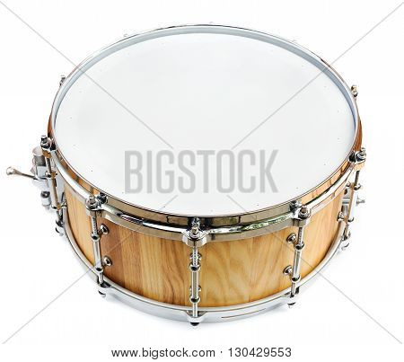 New wooden share drum isolated on white
