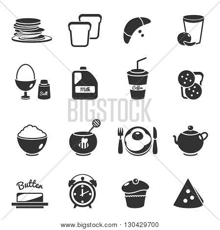 Breakfast black isolated icon set with description of different meals and foods to eat in the morning vector illustration