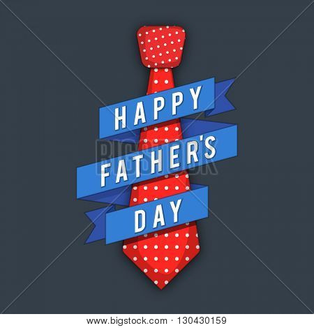 Stylish Blue Paper Ribbon around a Red Tie on grey background for Happy Father's Day celebration.